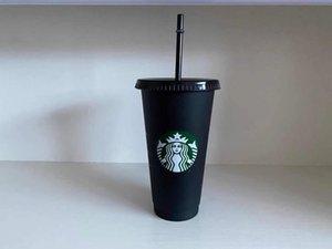 24 onças de plástico suco de suco de plástico e palha copo de café mágico personalizado copo de plástico starbucks, você pode personalizar o logotipo