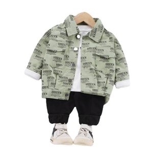 Spring Casual Boys Suits 3Pcs Set Letter Coats Jacket+T Shirt+Trousers Toddler Outfits Infant Baby Clothes SM003