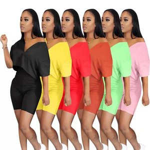 Women Two Piece Set Tracksuit Summer Clothes V-neck Short Sleeve Zipper Crop Top High Waist Biker Shorts Lounge Outfits Set 2021