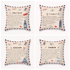 DIY Pillow Case National State Envelope Pillowcase Printed SHORT FLOSS Pillowcase Retro Throw Pillow Case Home Pillow Covers LLA401