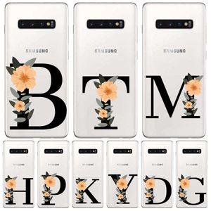 Custom Letter Plants Flowers Soft TPU Case or Samsungs A10 A20 A30 A50 A51 A70 S8 S9 S10 S20 Plus Soft Phone Case