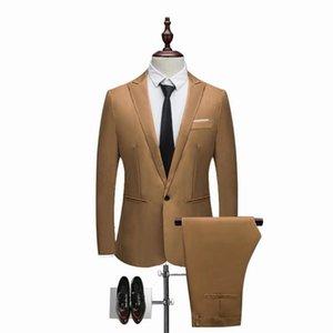 Lasperal 2021 Hombres Traje de moda Traje Sólido Nuevo Casual Slim Fit 2 Piezas Para Hombre Trajes De Boda Masculino Tamaño Músculo Tamaño 3xl Chaqueta Pantalón Pantalón