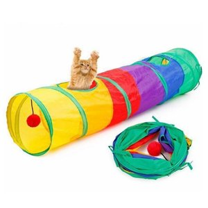 Tent Game Playing Toy 2 Holes With Ball 115 *25cm Colorful Foldable Cat Pet Play Tunnel jllODX soif