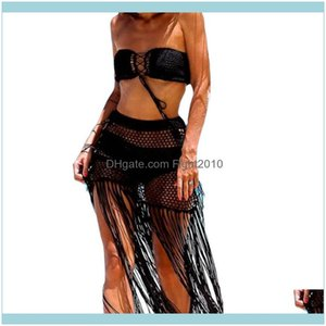Two-Piece Suits Swimming Equipment Sports & Outdoorsfemale Beach Sexy Hollow Out Crochet Bikini Er Up Solid Color High Waist Long Skirt For