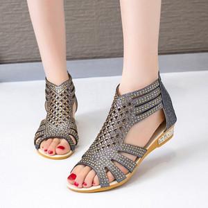 Sandalias clásicas Sandalias Gladiador Moda para mujer Hallow Out Shoes Summer Female Hembra cremallera Slip en Pisos Wowan Peep Toe Calzado 2020 47UP #