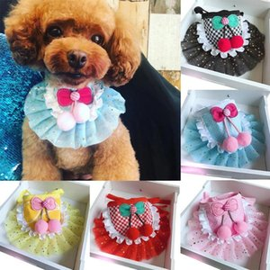 Pet Cats Dog Puppy Plaid Dot Print Bandana Bibs Sciarpa Sciarpa Asciugamano per cani per bambini per cani Brucatori Bib Animali domestici Accessori Gatti Accessori
