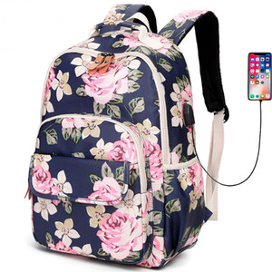 Wholesale Classic Waterproof Nylon Large Capacity Women Backpack USB Charge Designer Backpack Fashionable Lightweight Travel School Bag