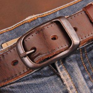 Высококачественный досуг Роскошная мода итальянской коровьей мальчика Boy Belts Личности Брюки Кнопка Ретро Лучшие натуральный кожаный мужской ремень