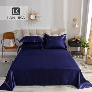 Lanlika 1PCS 12 Solid Color Dark Blue Flat Sheet 100% Satin Silk Bedding Linen European Style Silky Bed Sheet Home Textiles