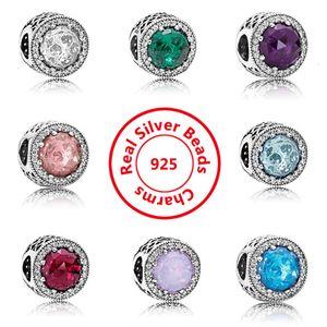 925 plata esterlina cristal claro cz encantos perlas europeas con caja original ajuste Pandora Snake Chain Pulsera Charms Jewelry DIY Haciendo