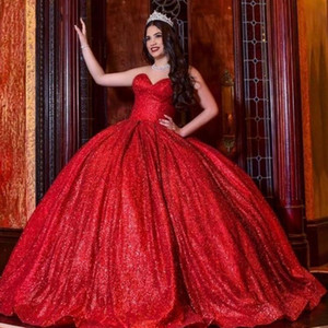 Red Sequined Satin Quinceanera Dresses Prom Simple 2021 Strapless Ball Gowns Dress Formal Evening Gowns Sweet 16 15 Girls Dress Cheap
