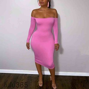 Casual Dresses 2021 antumn Dress Sexy One-word Neck Strapless Long-sleeved Fashion Elegant Party Mini skirt lulu365