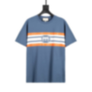 2021 Europe and Italy latest fashion style striped letter printing women's T-shirt casual cotton Slim sports wild loose blue men's T-shirts