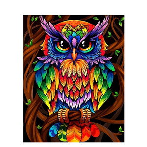 Color búho Animales DIY Pintura por Números Kit Moderno Wall Art Pintura de acrílico por números para regalo