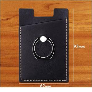 Creative Pu Leather Phone Wallet Sticker Case Women Men Credit Card Holder Pocket Stick Adhesive Mobile Phone Car qyluVU