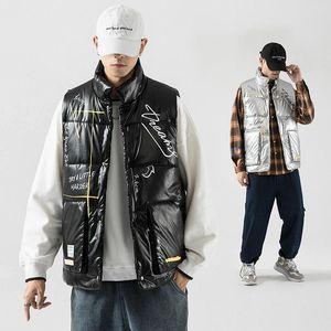 Autumn Winter Mens Cotton Padded Vests Man Streetwear Hip Hop New Japanese Style Graffiti Print Vest M-5xl Outwear