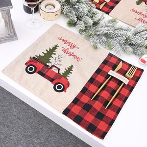 Car Christmas Tree Placemat Red Black Plaid Tablecloth Table Mat tableware Mat NewYear Christmas Home Dinning Kitchen Restaurant YL0030
