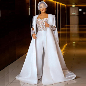 2021 Jumpsuit Wedding Dresses Lace Long Sleeves Outfit Bridal Gowns Plus Size African Robe De Mariee