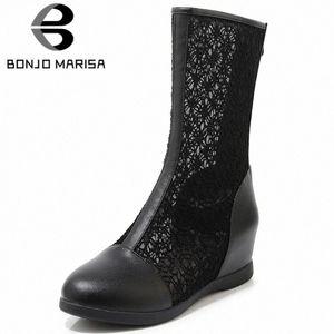 Bonjomarisa Nuovo 33 43 Ladies Elegante Altezza Aumento Stivali Summer Stivali da maglia traspirante Stivali da maglia Donne 2020 Scarpe comfort Donna G2HW #