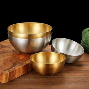 Bowls 304 Stainless Steel Korean Salad Bowl Multi-purpose Cooking Single-layer Cold Noodle Mixed Rice Barbecue