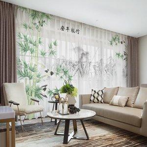 Curtain & Drapes Custom Chiffon Sheer Window Drape For Bedroom Living Room Bamboo Hills Landscape Khaki Gray Brown Pink Blue
