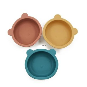 سيليكون وعاء الطفل تغذية المائدة الدب شكل لوحة مع عدم الانزلاق مصاصة الرضع الطفل وعاء التغذية أطباق DHD5212