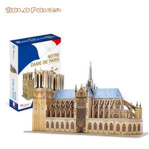 Notre Dame De Paris 3D cardboard Assembly Architectural Model Puzzle Children Toy DIY paper building kit L0311