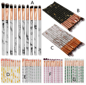 Newest Hot Makeup Brush Set 10pcs set Eye Brush Foundation Powder eyeShadow Concealer Marble Blending Make-up Brushes High Quality