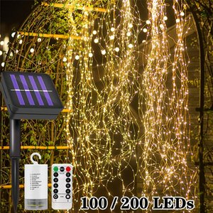 Solar Light Outdoors Waterproof Copper Wire LED String Lights Garland Waterfall Vines With Fairy Lights Room Wedding Decor