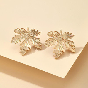 2021 New Women Gold Leaf Earrings Stud Alloy Simple Metal Earrings Gift Matching Clothes Fashion Jewelry