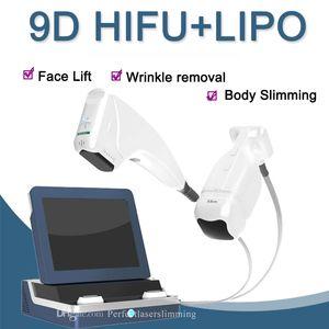 2 in 1 Hochintensitätsfokus Ultraschall 9D HIFU Anti-Aging-Maschine 10 Kartuschen Ultraschall-Liposonix-HIFU-Körper.