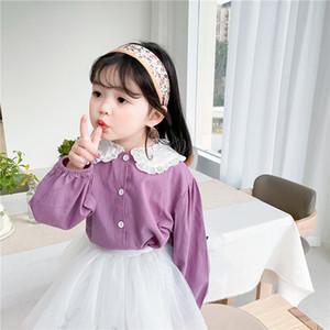 Girls lace hollow lapel shirts 2021 spring new children purple long sleeve shirt kids cotton princess tops A5837