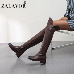 ZALAVOR Plus Size 34 48 Female Over The Knee Boots Winter Warm Motorcycle Boots Casual Zipper Classics Long Footwear n6tv#