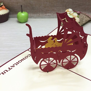 1pcs Baby Carriage Cartoon Pop Up DIY 3D Greeting Card With Envelope Post Card Handmade Christmas Birthday Souvenirs Gifts