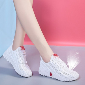 2021 New Arrival Fashion White black Women Casual Shoes Summer Female Breathable Lace Up Platform Sneakers Ladies Net Shoes