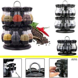 16Pcs Condiment Set 360 Rotating Spice Jar Rack Kitchen Cruet Condiment Bottle Coffee Sugar Seal Jar Container Rack FWD4874