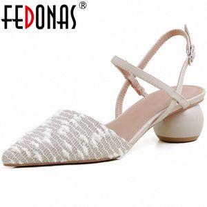 Fedonas indicato punta beige donna scarpe vera pelle tacchi alti signore sandali popolari patchwork ufficio ufficio scarpe donna Z36s #
