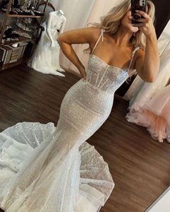 2021 Plus Size Arabic Aso Ebi Silver Sparkly Sexy Wedding Dresses Beaded Spaghetti Bridal Dresses Sequined Cheap Wedding Gowns ZJ555