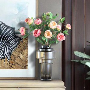 Renkli Degrade Amber Vazo Şeffaf Cam Vazolar Masa Dekor Hidroponik Çiçek Düzenleme Çiçek Ev Dekorasyon Modern
