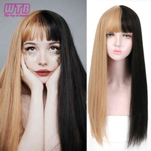 WTB Lolita Long Straight Black to Blonde Ombre with Bangs for Women Heat Ristant Synthetic Fashion Cosplsy Party Wigs