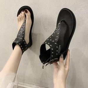SagaCE 2020 Новая Мода Женщины Сандалии Флипсовые Шкацы Обувь Женщины Римские Сандалии Заклепки Плоские Обувь Летний Пляж Леди Кожа C7J5 #