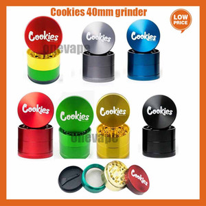 Cookies Grinder California SF Vape Packaging 4 Layers Zinc Alloy Rainbow Herb Grinders 40*35mm Tobacco Accessories with Box Runtz grinder