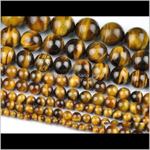 Wholesale Natural Tiger Eye Round Loose Stone Beads For Jewelry Making Diy Bracelet Necklace 4 6 8 10Mm Strand 15'' Hbwyz Dmxhc