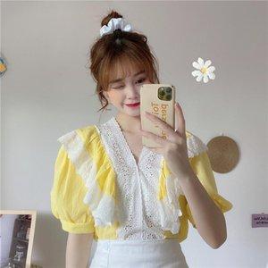 Корейская мода одежда белая рубашка женская блузка лето 2021 женские топы и блузки короткие слоеные рукава кружевные лоскутные блусы