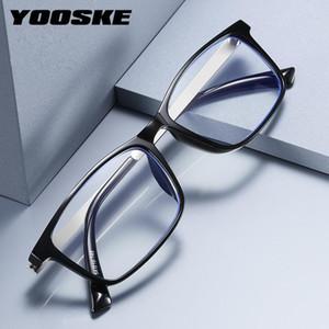 Yooske Blocking Light Blue Light Lection Glasses Business Tr90 Frame Mujer Vintage Black Prescription Hyperopia Gafas +100