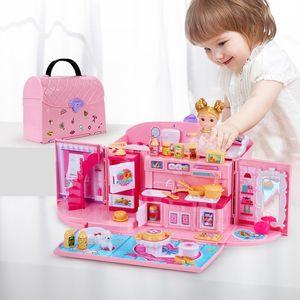 QWZ New Girls Toys DIY Muñeca Casa Bolso Muebles Muebles Accesorios Miniaturas Linda Casa de Doll Cumpleaños Casa Juguetes para niños 210225