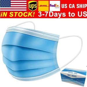 Free shipping 3-7 days to US Disposable Face Masks with Elastic Ear Loop 3 Ply Breathable for Blocking Dust Air Anti-Pollution Mask OWC6108