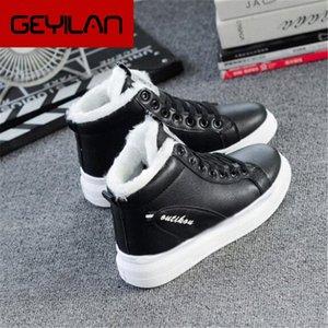 2019 outono e inverno nova explosão modelos mulheres sapatos brancos b selvagem e veludo Flat não deslizante casual boots m523 u9g8 #