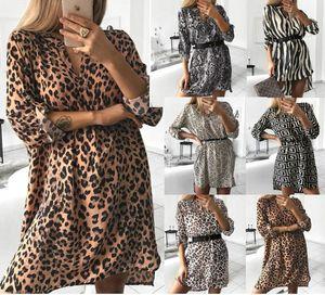 Fashion Women Leopard T Shirt Dress Elegant Long Sleeve Party Club Dress V Neck Clothing Dames Robe Femme Vestidos Streetwear