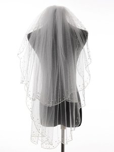 Bridal Veils Charming Bead Edge Two Layers Wedding Accessories Tulle Veil With Comb Beading